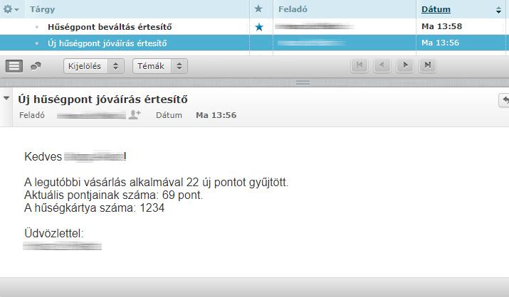 e-mail értesítő