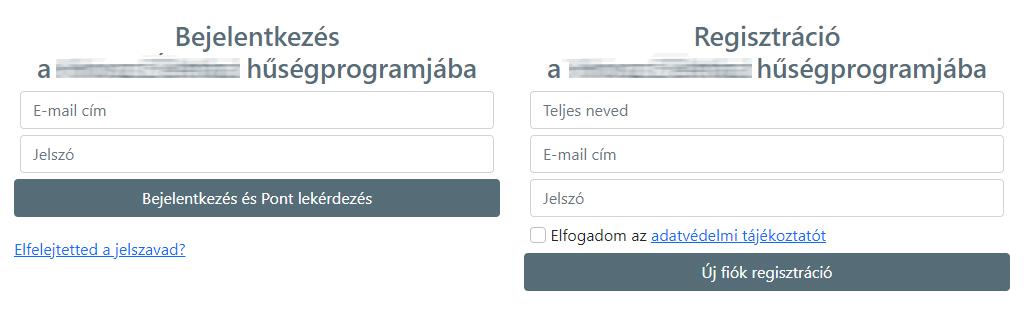 Webshop hűségprogram regisztráció
